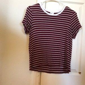 Maroon striped T-shirt